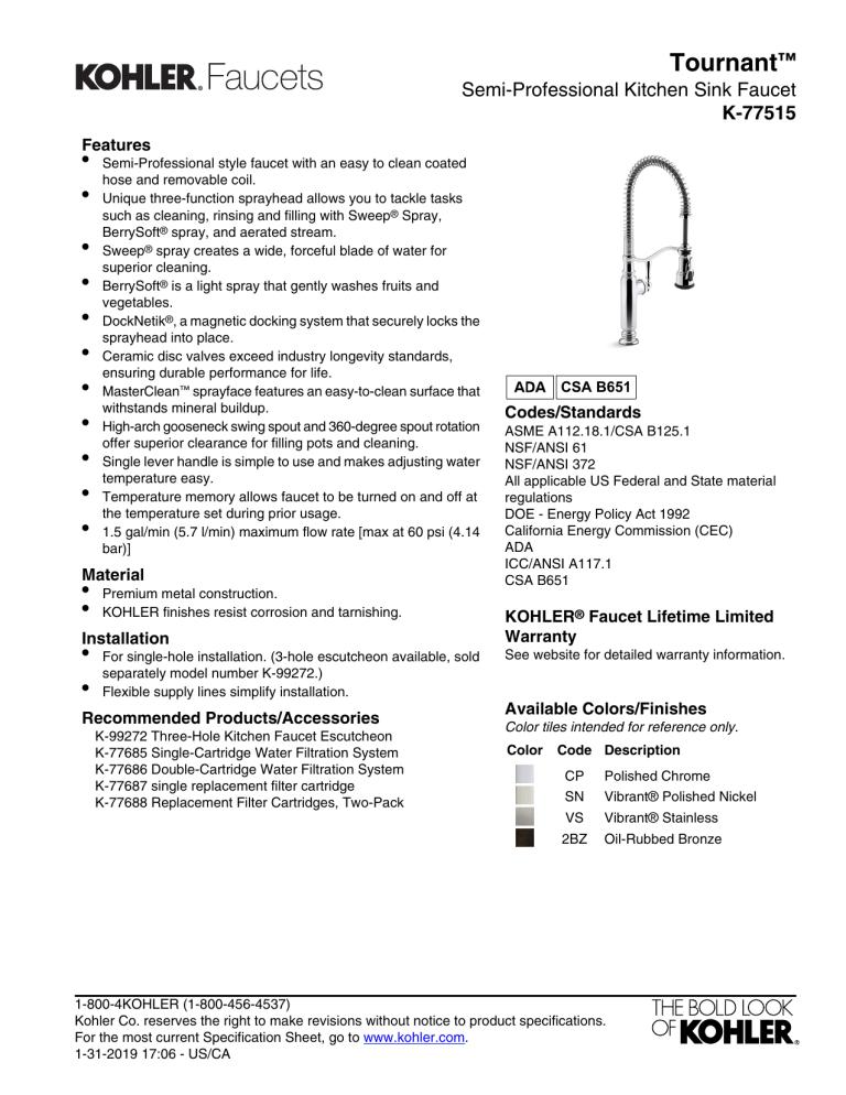 kohler k 77515 2bz user manual manualzz