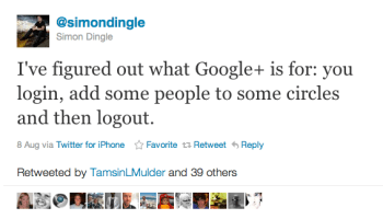 Twitter   simondingle I ve figured out what Goog