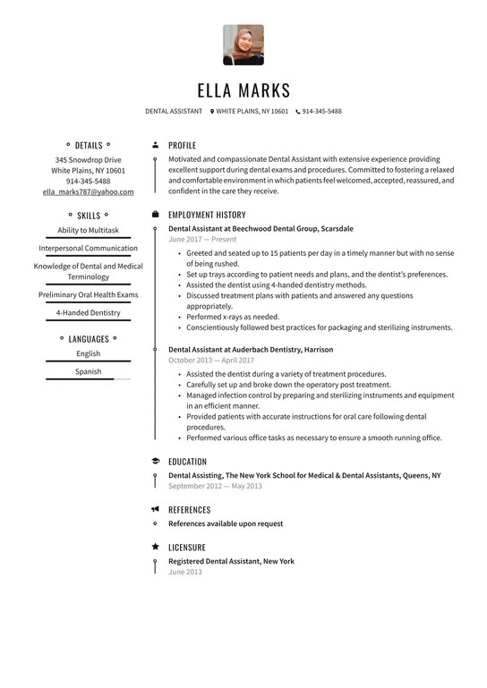 Free download 018 interior design cover letter internship example email examples of dental assistant resumes new template with 1275 x 1650 pixel pics source : Dental Assistant Resume Examples Writing Tips 2021 Free Guide