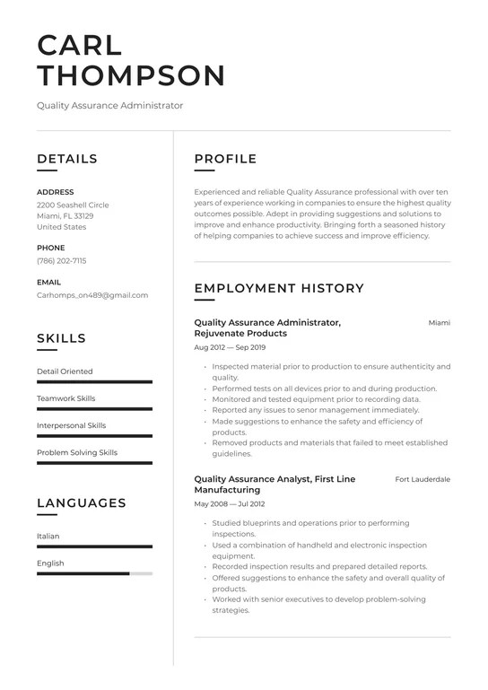 Download your resume in pdf or word doc.no payment required, no tricks. Quality Assurance Resume Examples Writing Tips 2021 Free Guide
