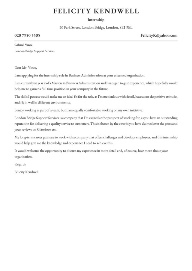Internship Cover Letter Examples & Expert tips [Free] · Resume.io