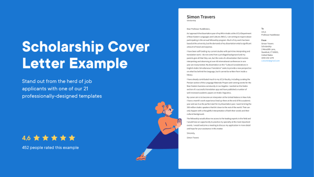 Scholarship Cover Letter Examples & Expert tips [Free] · Resume.io