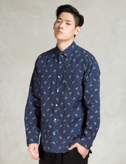 Benny Gold Navy Cloud Paisley L/s Button Down Shirt Picture
