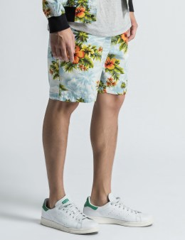 The Quiet Life White/Light Blue Hawaiian Beach Shorts Picture