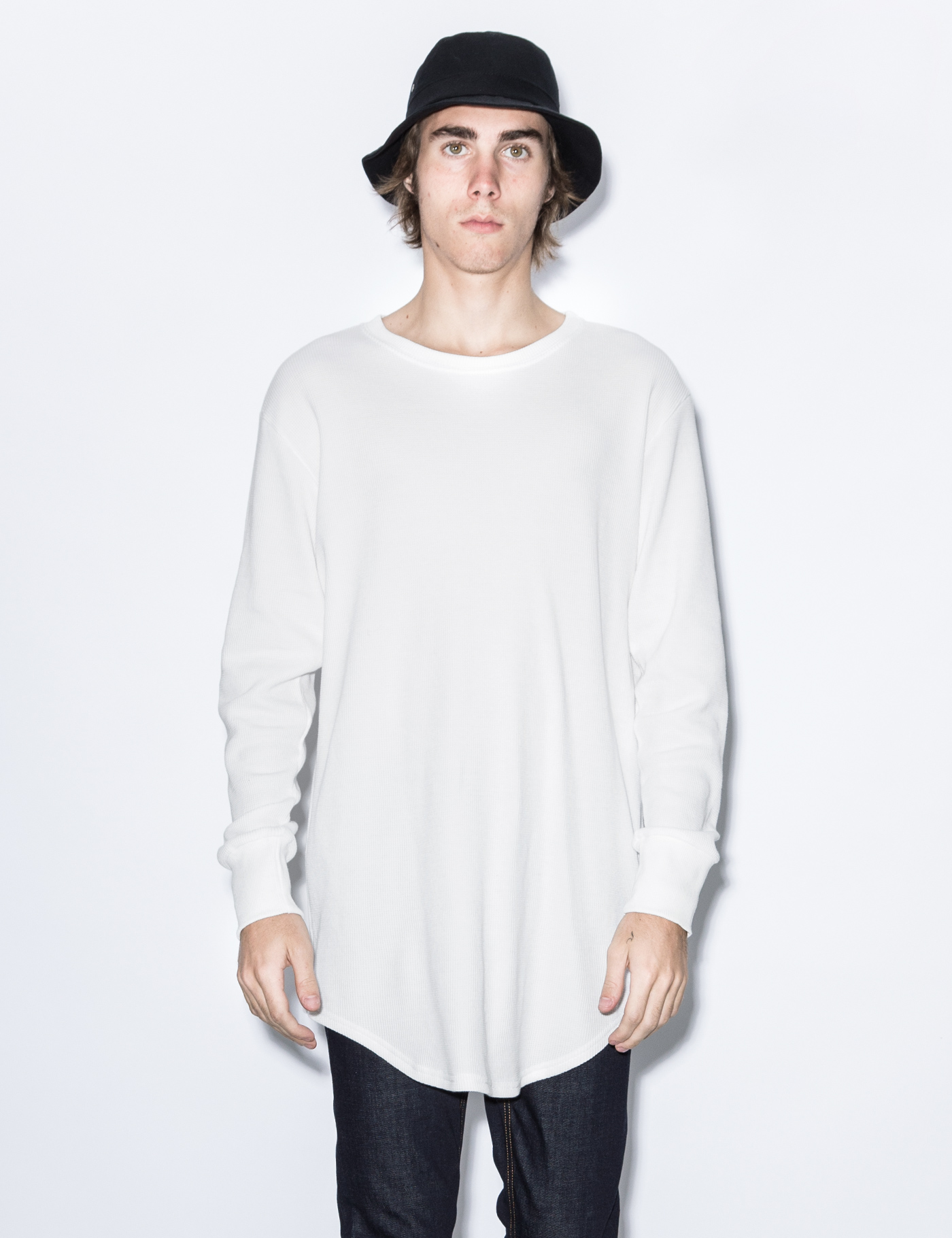 Knyew White Thermal E Long Scoop L S T Shirt Hbx