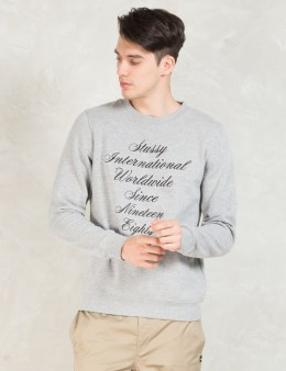 Stussy Grey Script Int. Emb. Crewneck Sweater Picture