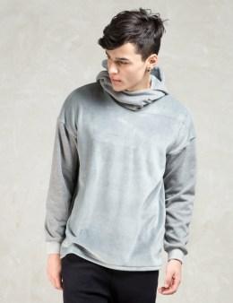 FACTOTUM Grey Fake Fur 2tone Sweat Hoodie Picture