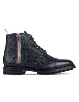 THOM BROWNE Pebble Grain Leather Side Zip Toe Cap Boots with Commando Sole Picture