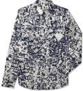 CARVEN Marine/Creme Printed Poplin Shirt Picture