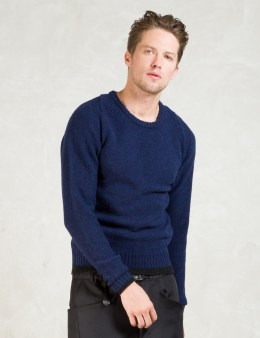Man of Moods Blue Shetland Wool Crewneck Sweater Picture