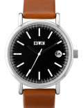 EDWIN Watch Black Dial With Brown Leather Band Epic Picture