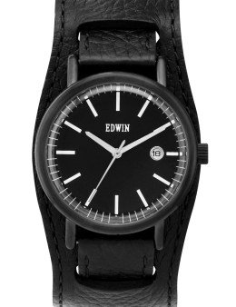 EDWIN Watch Black Leather Cuff Band With Black Dail Epic Picture