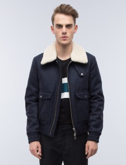 ami Shearling Collar Zipped Jacket Picture