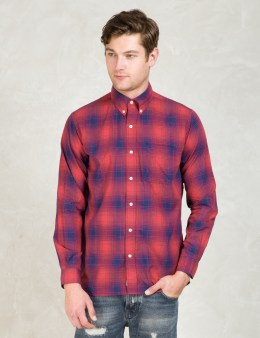SILAS Red Plaid L/S Shirt With Elbowpatch Picture