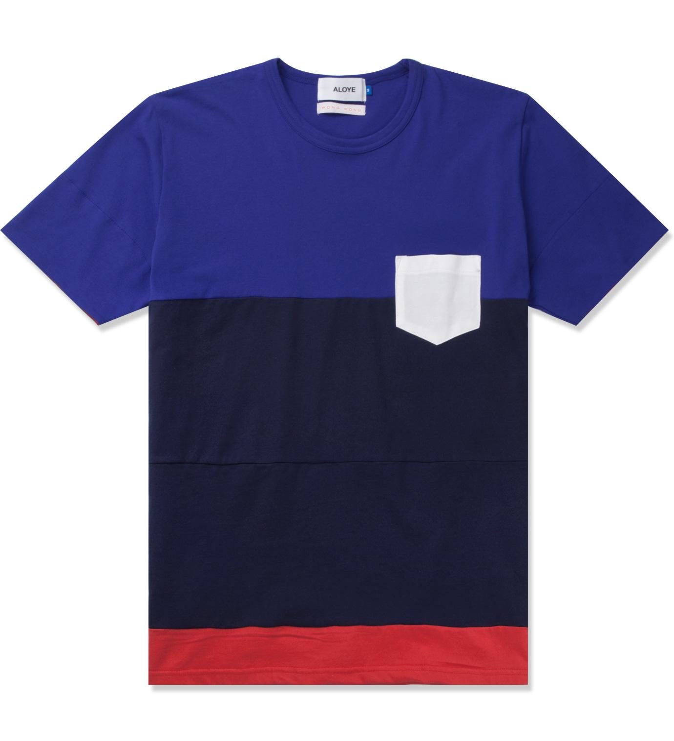 Aloye aloye x wong wong blue navy blue japan color blocked for Navy blue color shirt