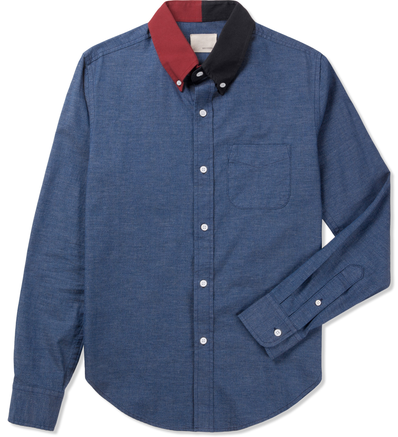 Band of outsiders indigo l s button down split collar for Indigo button down shirt