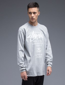 Stussy Heather Grey World Tour L/S T-Shirt Picture