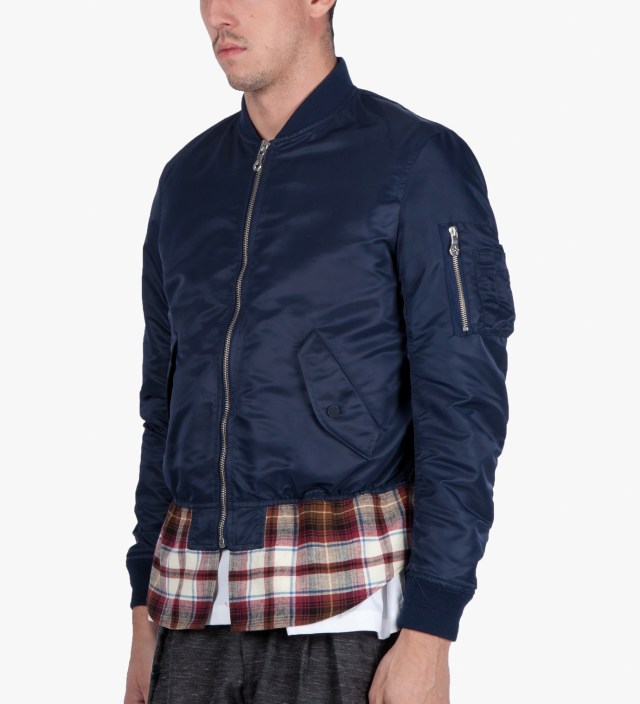 PHENOMENON Navy Check Mix MA-1 Blouson Jacket