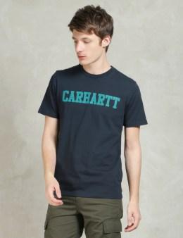 Carhartt WORK IN PROGRESS Navy/Severn S/S College T-Shirt Picture