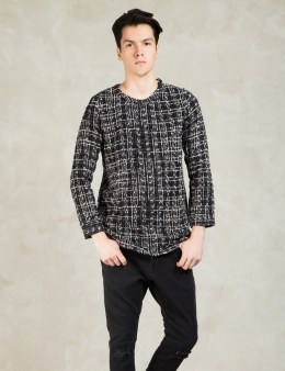 Tourne de Transmission Black/Grey Ikkat Yutok Woven Sweater Picture