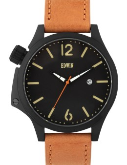 EDWIN Watch Black Dail With Brown Leather Band Brook Picture