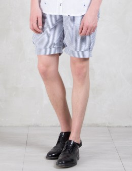 Munsoo Kwon Seersucker Pleated Shorts Picture