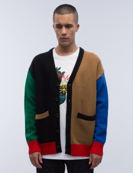 ROCKET X LUNCH R Color Knit Cardigan Picture