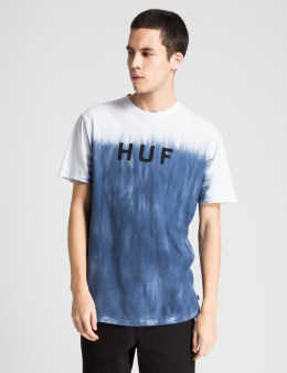 HUF Navy Original Logo Faded Dip Dye T-Shirt Picture