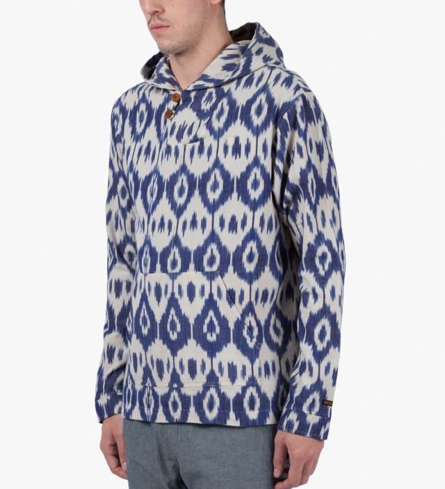 10.DEEP White Ikat Baja Poncho Pullover Jacket