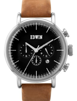EDWIN Watch Silver With Brown Leather Band Element Picture