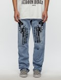 Warren Lotas Distressed Levis 505 Jeans with Black Guns Picutre