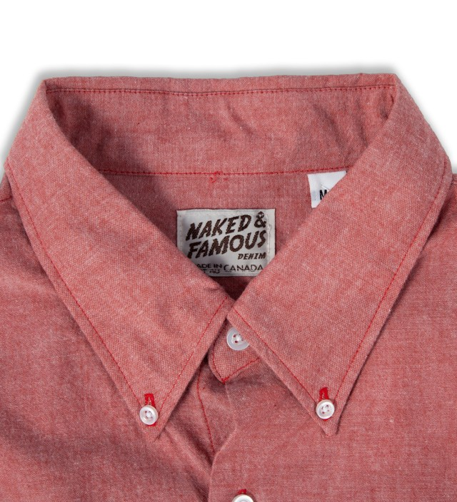Naked & Famous Red Chambray Slim Shirt