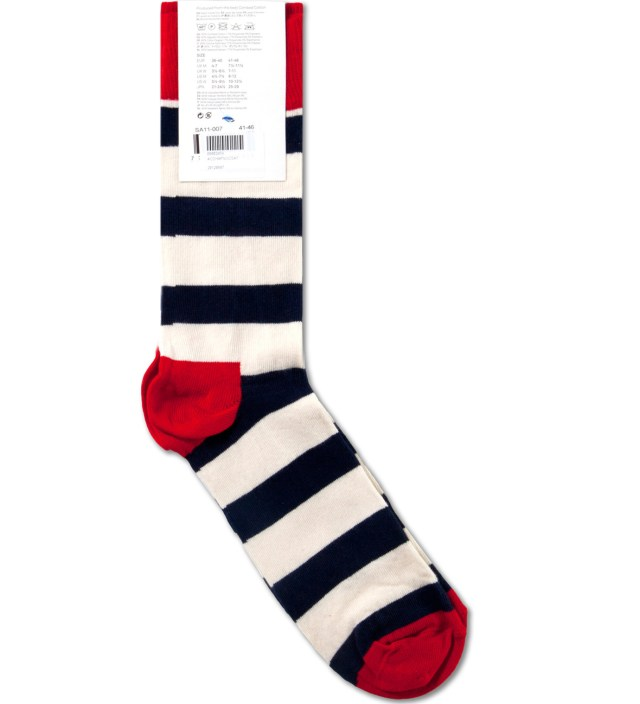 Happy Socks Navy/White Strips Socks