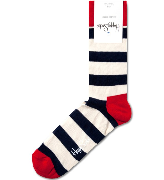 Happy Socks Navy/White Strips Socks