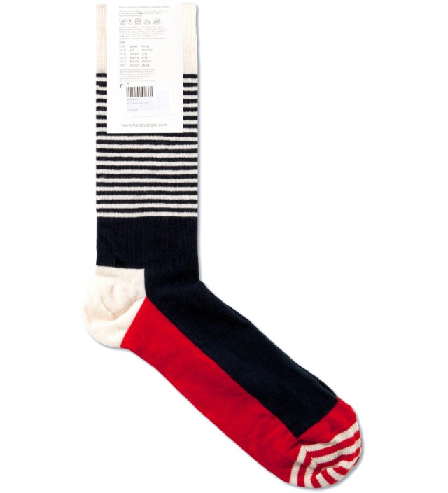 Happy Socks Blue/White Stripe Half Socks