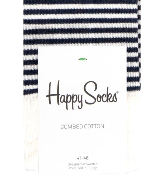 Happy Socks Blue/White Stripe Half Socks