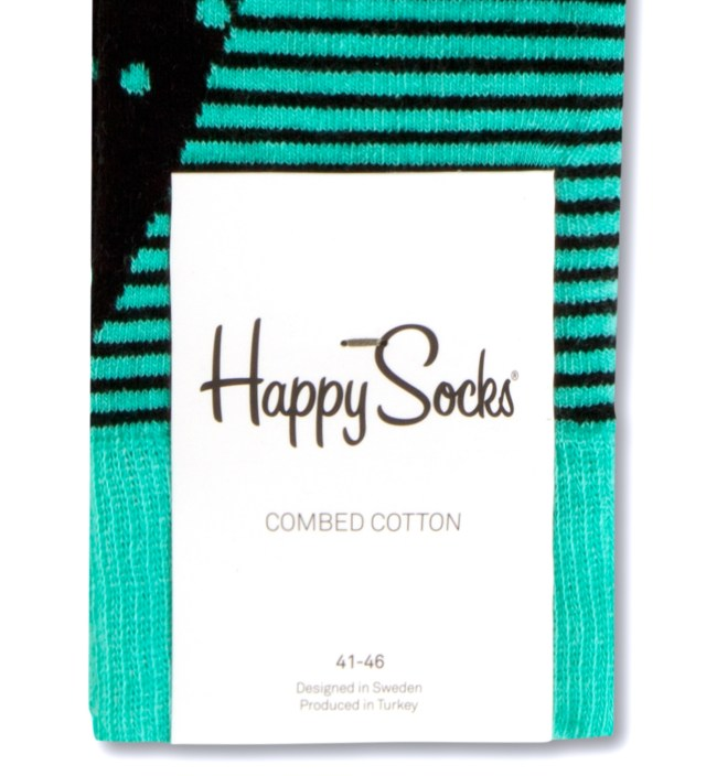 Happy Socks Turquoise/Black Stripes and Dots Socks