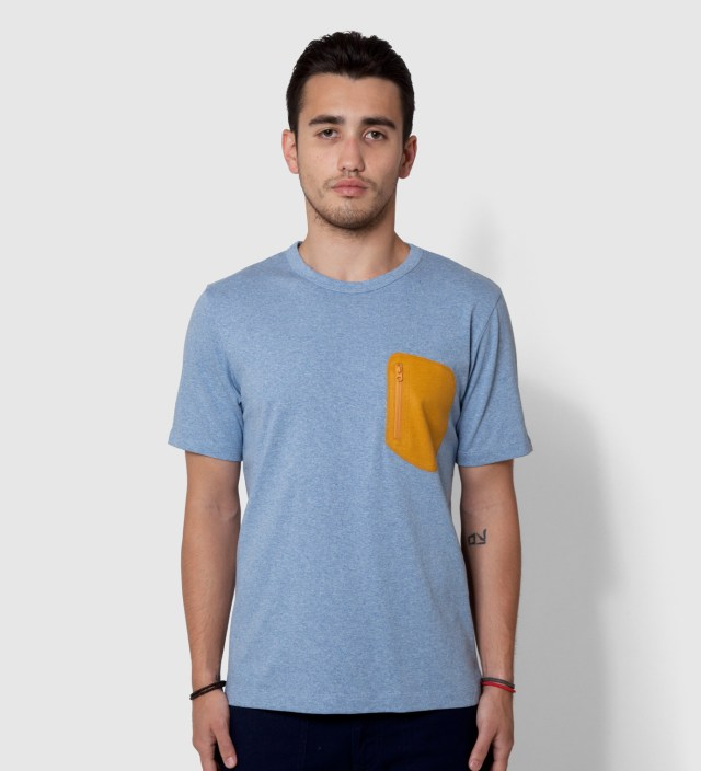 CASH CA Blue Wool Pocket T-Shirt