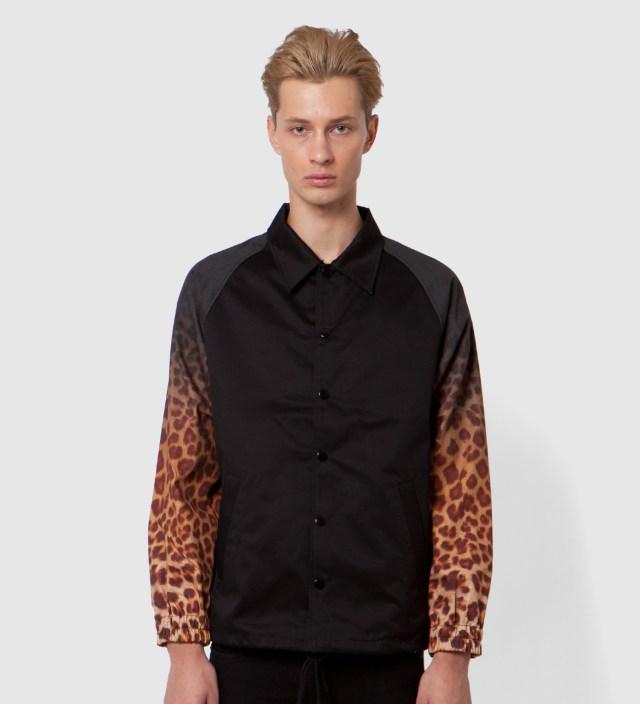 FACETASM Black x Yellow Leopard Coach Jacket