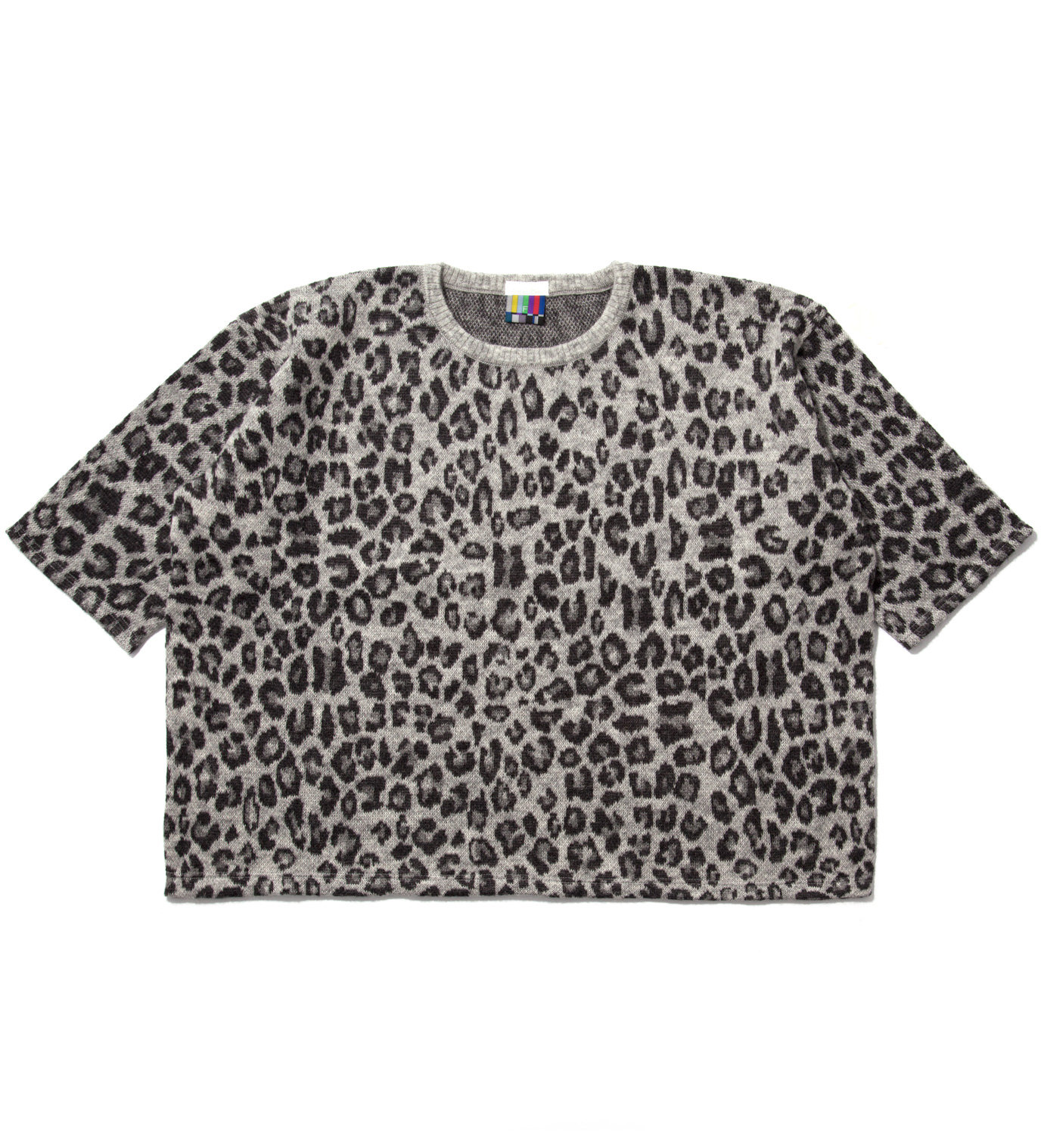 FACETASM Grey Leopard Big Knit T-Shirt