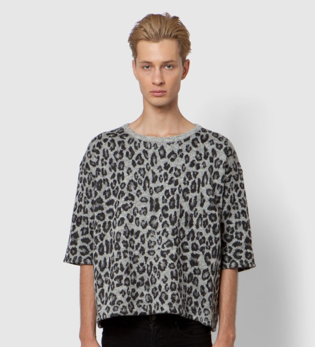 Facetasm Grey Leopard Big Knit T-Shirt