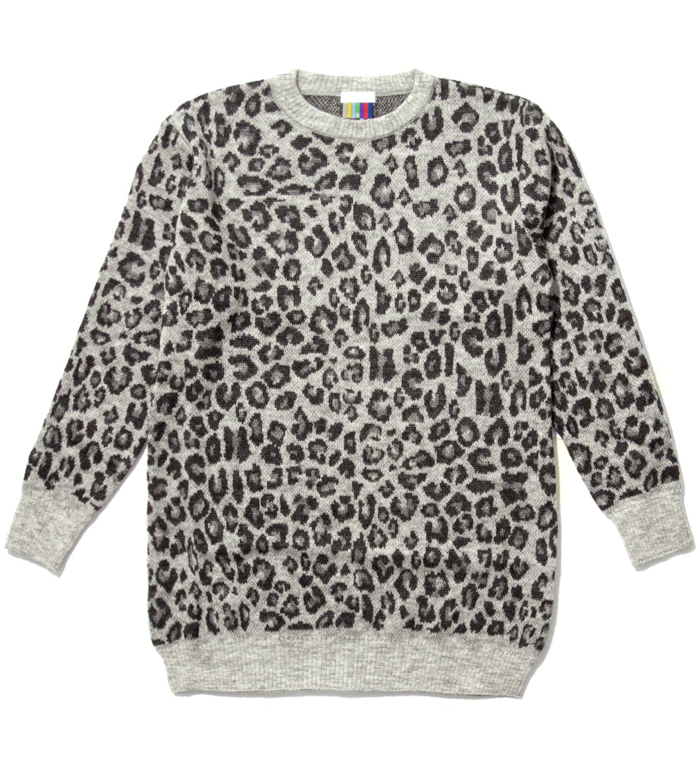 Facetasm Grey Leopard Long Sweater