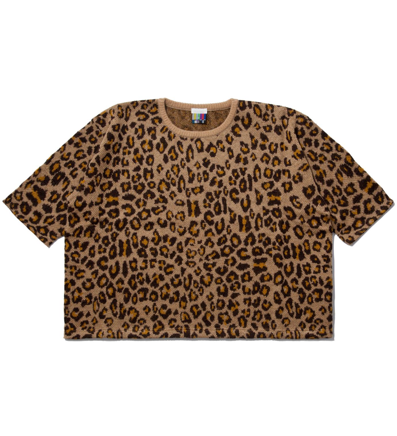 Facetasm Yellow Leopard Big Knit T-Shirt