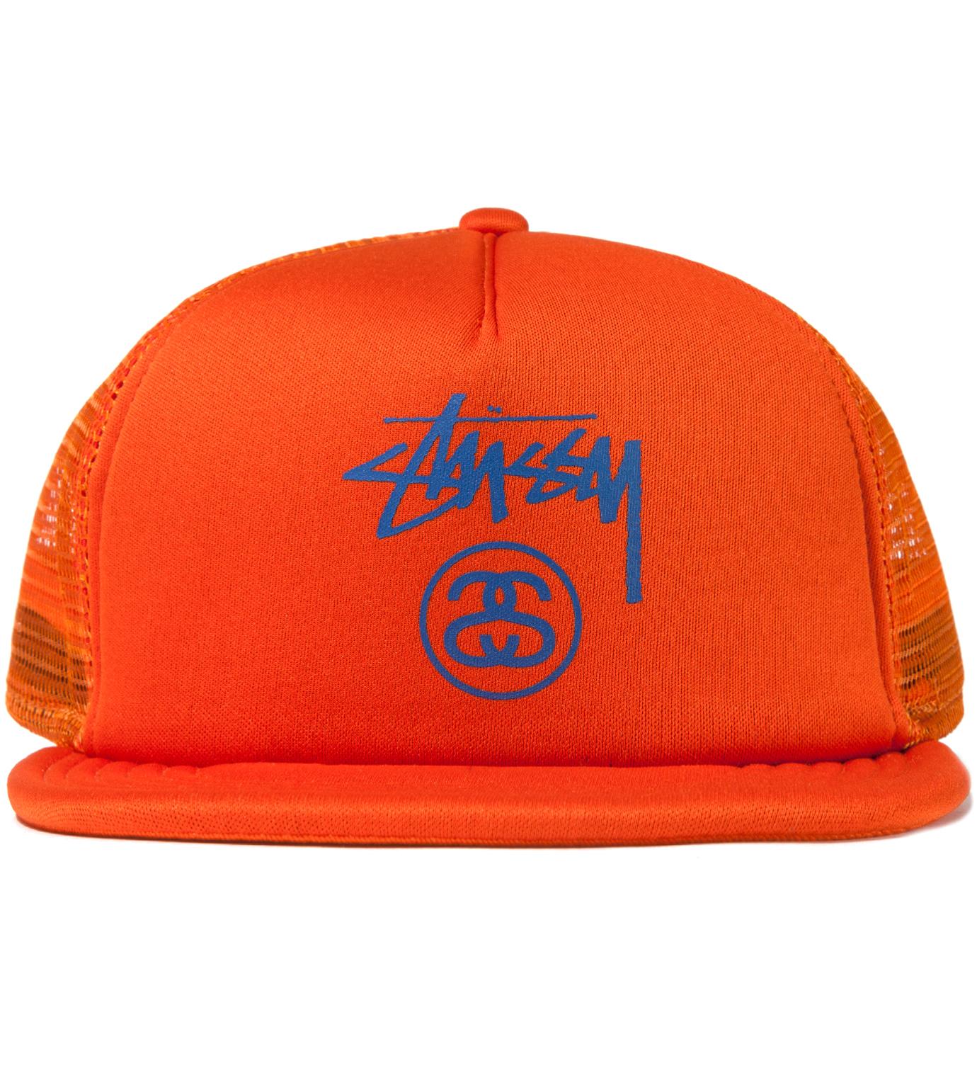 Stussy Orange Stock SS Trucker Ballcap