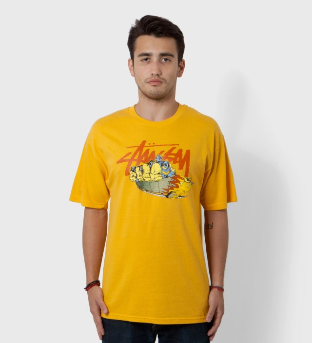 Stussy Pierre Bolide x Stussy Mustard Yellow Bobsled T-Shirt