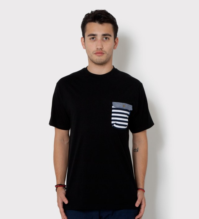 Tantum Black Border Stripes w/ Blue Chambray Flap Chief Pocket T-Shirt
