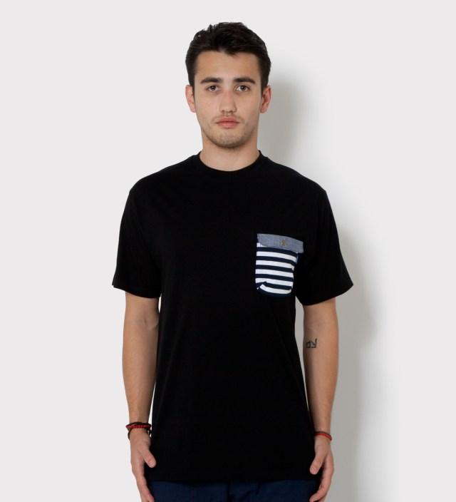 Tantum Black Border Stripes w/ Blue Chambray Flap Chief Pocket T-Shirt