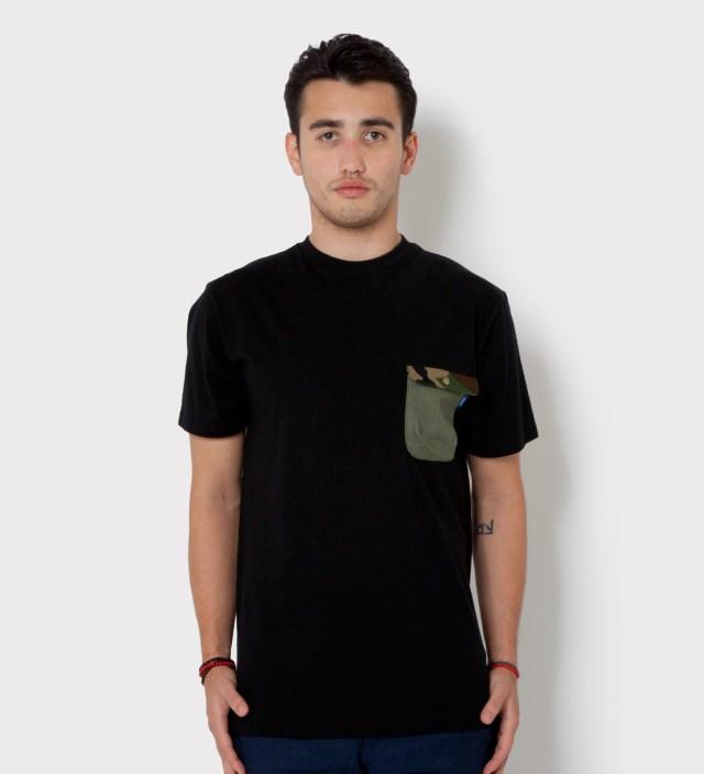 Tantum Black Olive Drab HBT w/ Woodland Camo Flap Chief Pocket T-Shirt
