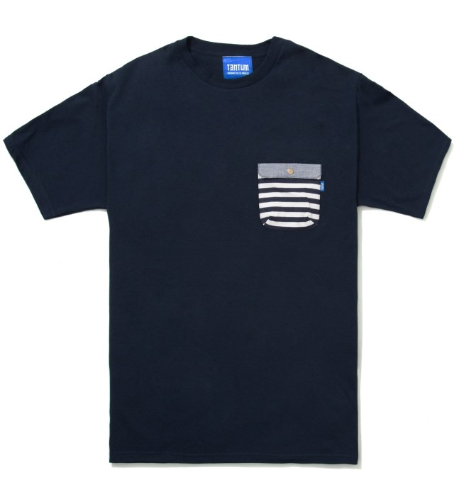 Tantum Navy Blue Border Stripes w/ Blue Chambray Flap Chief Pocket T-Shirt