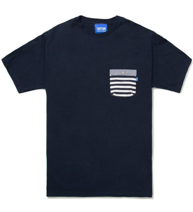 Tantum Navy Blue Border Stripes w/ Blue Chambray Flap Chief Pocket T-Shirt